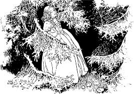 A drawing of a medieval woman in the forest