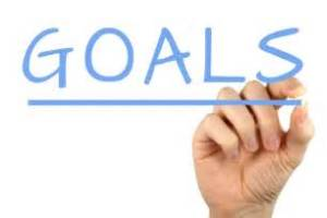 A person's hand writing the word 'goals'