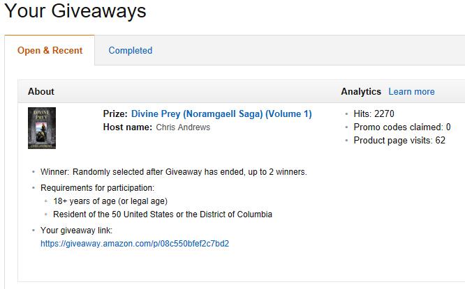Amazon Giveaway for Divine Prey | Chris Andrews