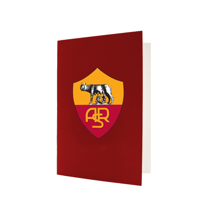 AS Roma greeting card. maroon outside with big Roma logo,