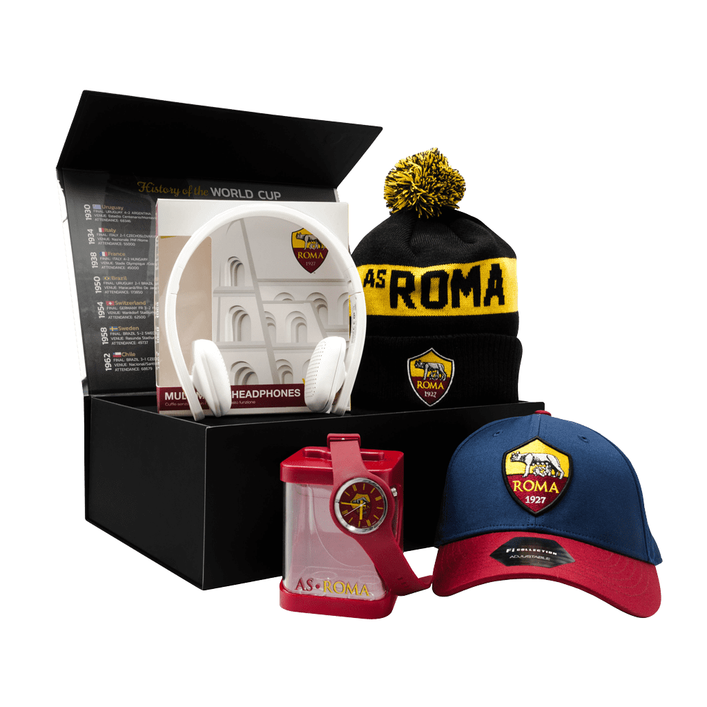 The AS Roma Fanatico Giallo Rossi Chest gift box with a cap, toque, watch and headphones.