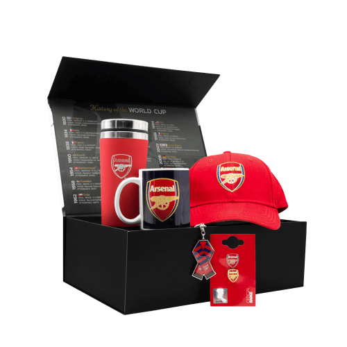 The Arsenal Supporters Gunners Chest gift box with a cap, travel mug, mug, pin and keychain.