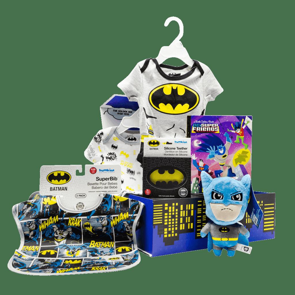 Batman My 1st Lil Superhero Chest gift box includes batman 7 inch plush stuffy, dc friends batman kids book, batman logo baby teether, batman 2 pack bibs and batman infant onsies