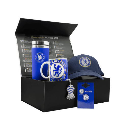 The Chelsea FC Supporters Stamford Bridge Chest gift box with a cap, travel mug, mug, pin and keychain.
