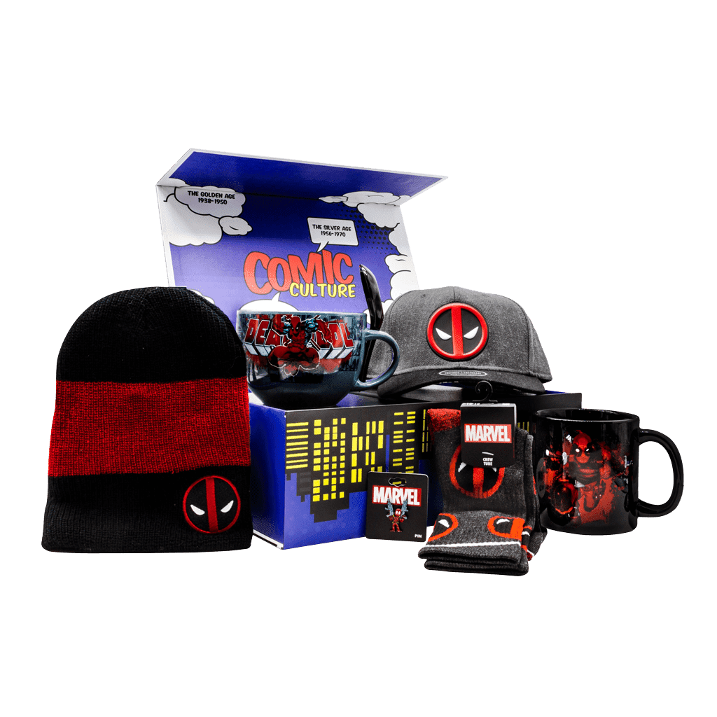 Deadpool Marvel gift box includes snapback cap, black and red toque, adult crew socks, character lapel pin, ceramic coffee mug and ceramic soup mug with spoon