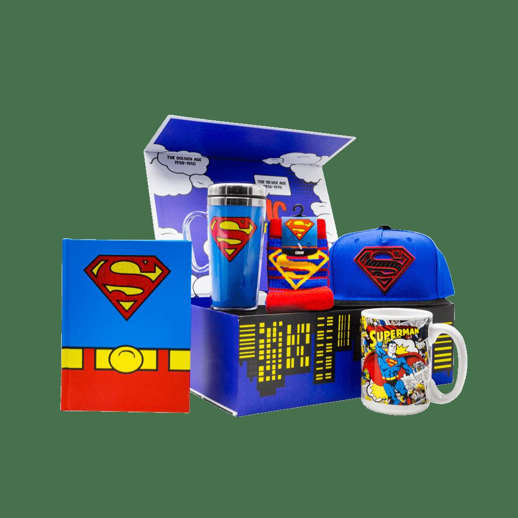 Superman Man of Steel gift box includes hardcover jurnal, travel mug, crew socks, snapback cap and cerqmic coffee mug