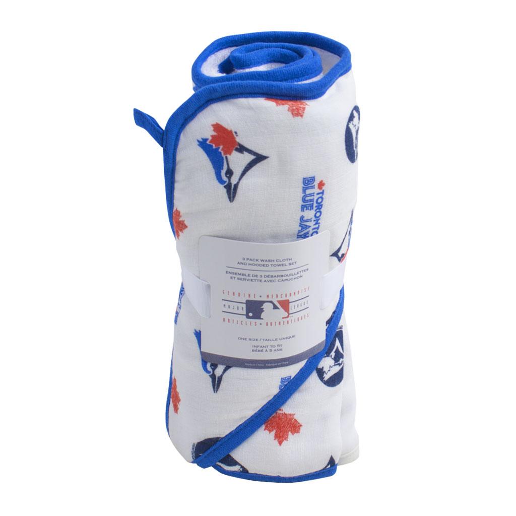 Toronto Blue Jays MLB Hooded Bath Towel W/Washclothes