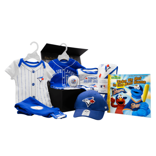 Toronto Blue Jays Fanatics Lil Leaguer Chest gift box with baseball, bibs, towel, cap, onsie, onsie with pants, and book.