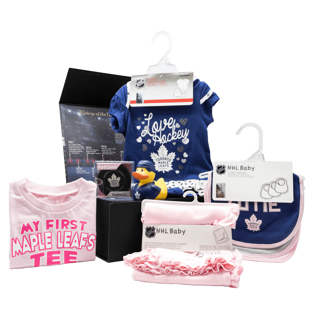 Toronto Maple Leafs Supporters Newest Fan Chest Girls gift box with my first t-shirt, my first puck, blanket, bibs, rubber duck, and jumper with booties