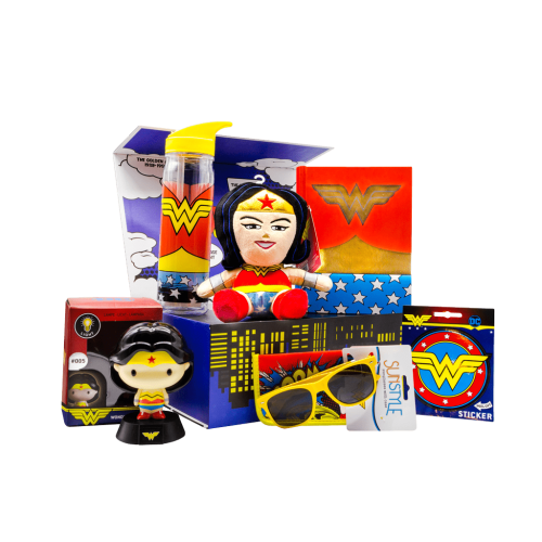 Wonder Woman gift box with hard cover journal, water bottle, character night light, sunglasses with pouch, 7 inch character plush stuffy and peel off sticker