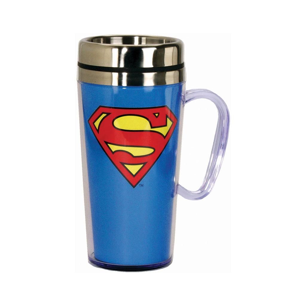 Superman insulated 14 ounce Travel Mug with handle