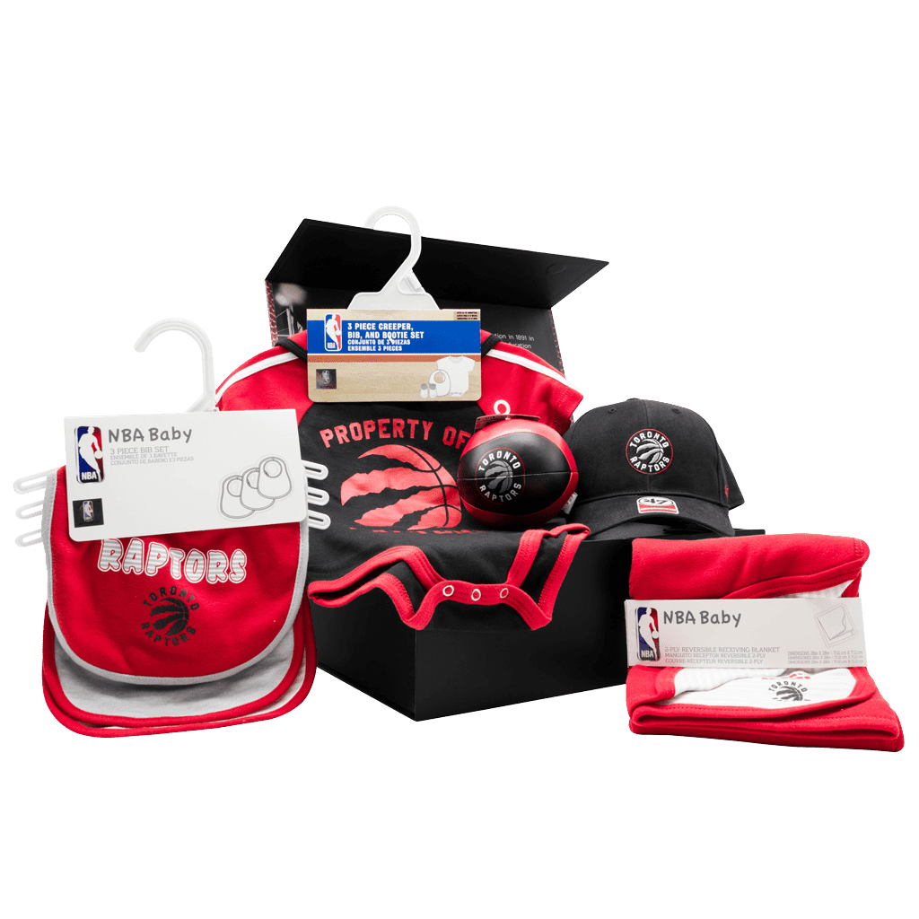 Toronto Raptors Newest Fan Chest gift box with cap, soft basketball, onsies, bibs, and blanket.