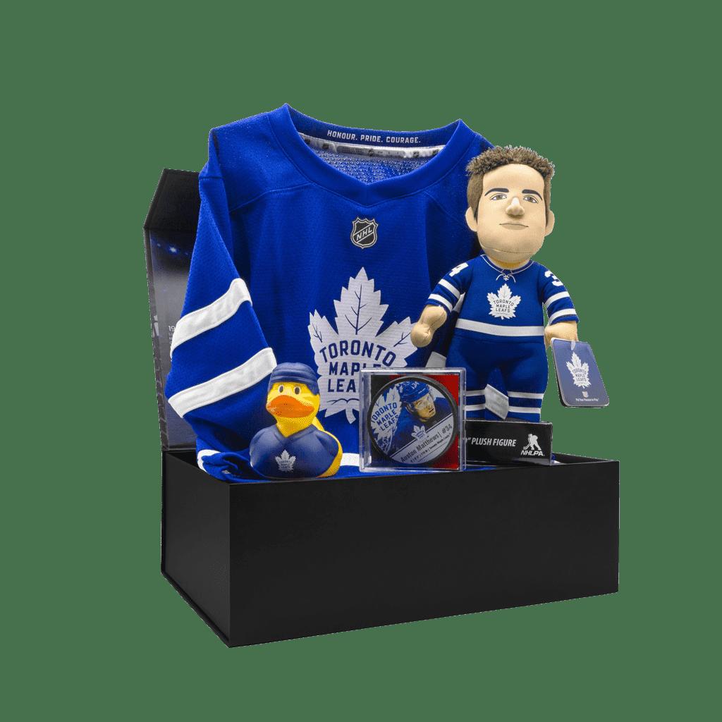 Maple Leafs Fanatics Matthews 34 Gift Box with Matthews Jersey, Rubber Duck, Matthews puck, and Matthews Plush