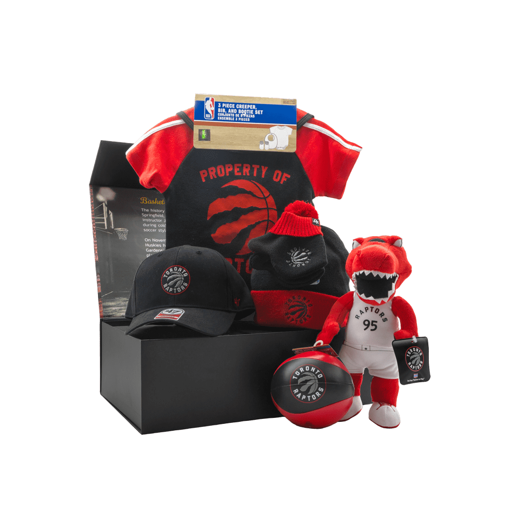 Toronto Raptors Lil Baller Gift Box with cap, mittens and toque, raptor plush, onsies, ball