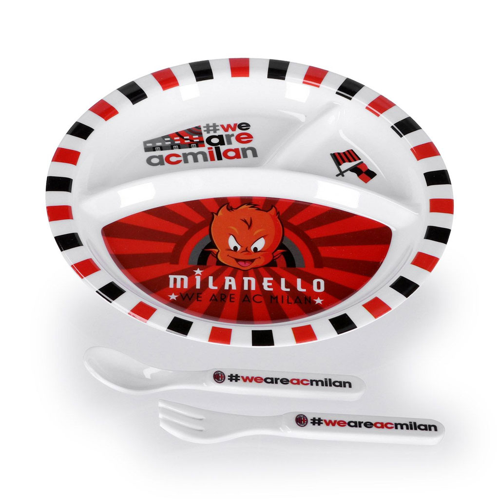 AC Milan kids plate, fork and spoon