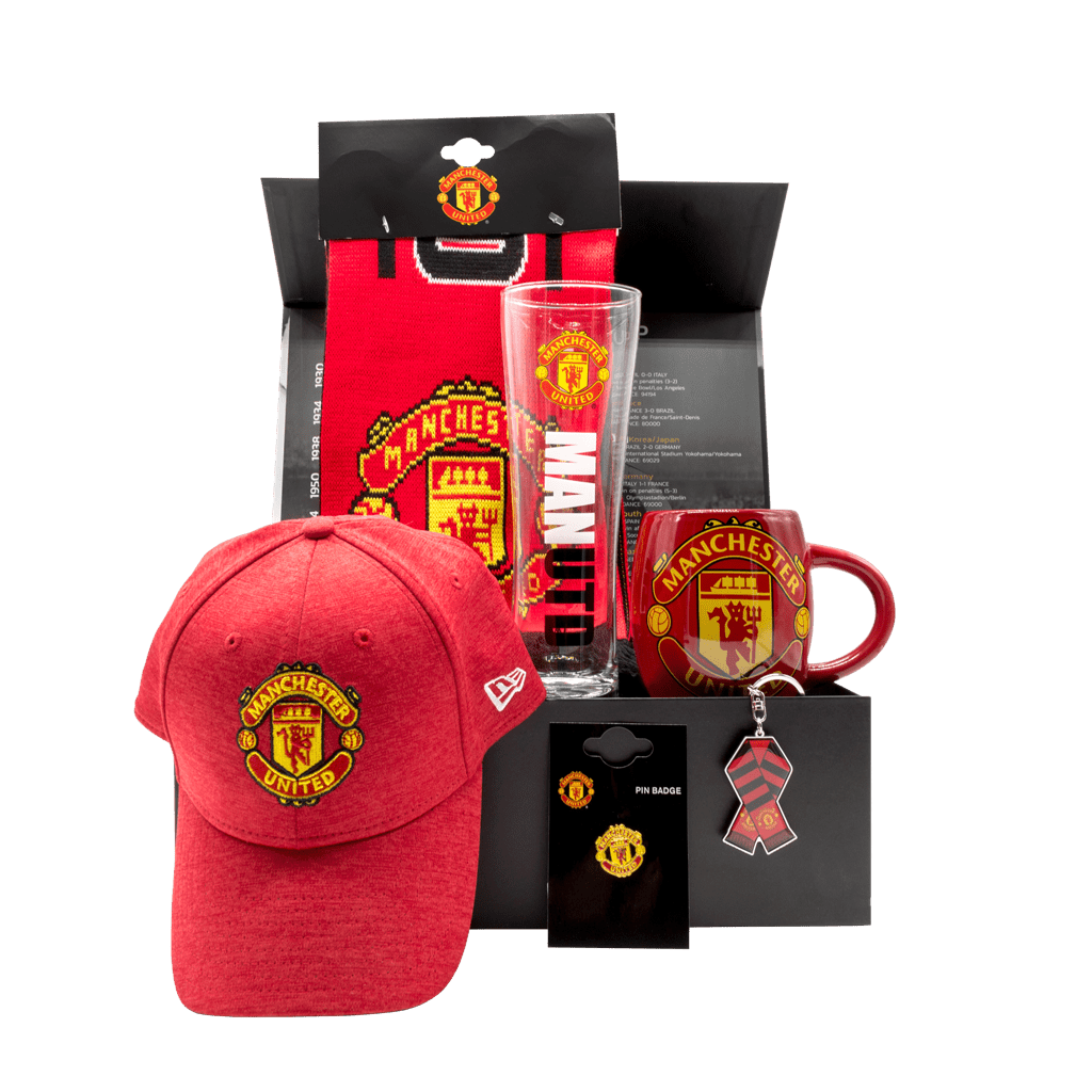 Man United Old Trafford Gift Box with baseball cap, team scarf, mug, beer glass, keychain, and lapel pin