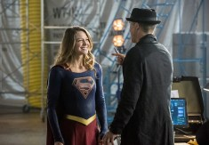 "The Flash -- ""Invasion!"" -- Image FLA308b_0401b.jpg -- Pictured (L-R): Melissa Benoist as Kara/Supergirl and Tom Cavanagh as Harrison Wells -- Photo: Dean Buscher/The CW -- © 2016 The CW Network, LLC. All rights reserved."