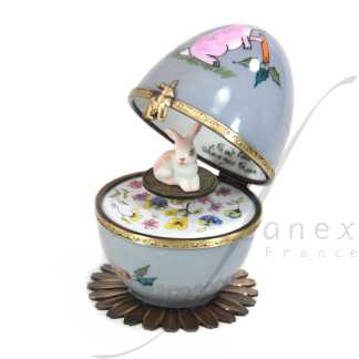 rabbit automata music box grey limoges trinket