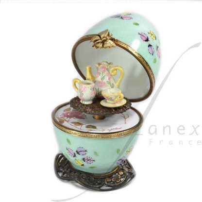 tea set green automata music box limoges
