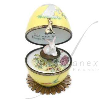 rabbit automata music box yellow limoges trinket