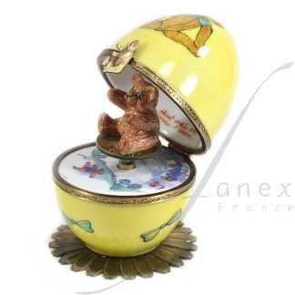 automata music box yellow bear limoges