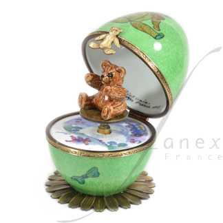 automata music box green bear limoges