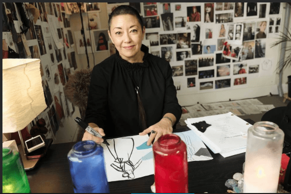 Ane Crabtree in her studio for Hulu's The Handmaid's Tale in Toront. Photo credit: George Kraychyk