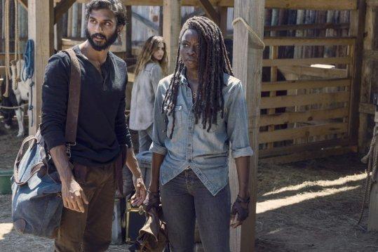 Avi Nash as Siddiq, Danai Gurira as Michonne, Nadia Hilker as Magna- The Walking Dead _ Season 9, Episode 8 -