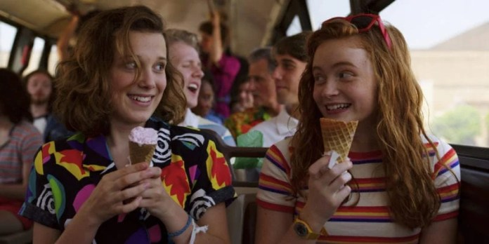 Millie Bobby Brown and Sadie Sink in Stranger Things 3 photo credit: Netflix