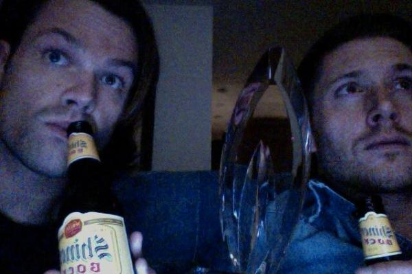 Jared and Jensen watch - with beers and PCA