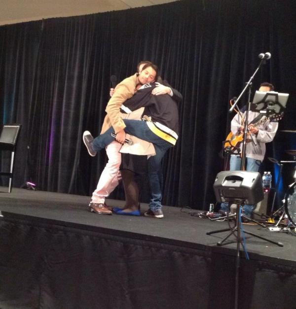 Group hug! Misha, Richard, Rob and a fan