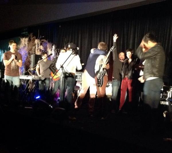 Misha hugs Rob at the one year anniversary TorCon