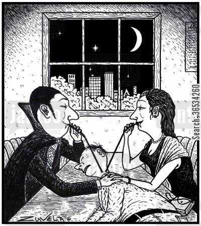 Two Vampire Lovers sharing a drink of Human blood