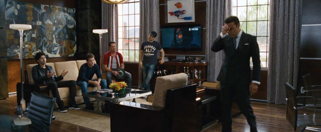 Entourage cast meeting in room
