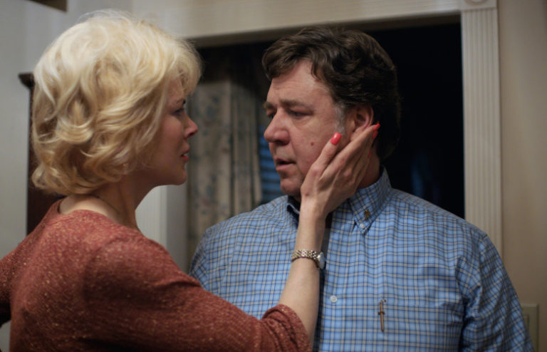 Nicole Kidman touching Russell Crowe's face in Boy Erased