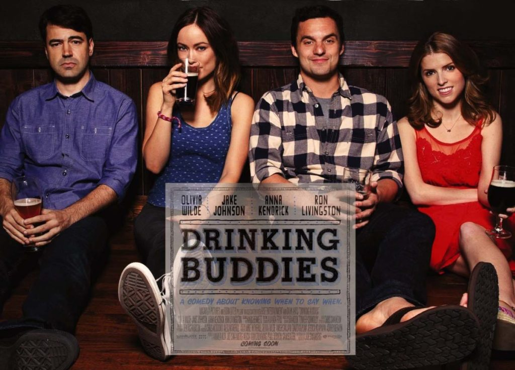 Drinking Buddies movie poster with Ron Livingston, Anna Kendrick, Olivia Wilde, and Jake Johnson