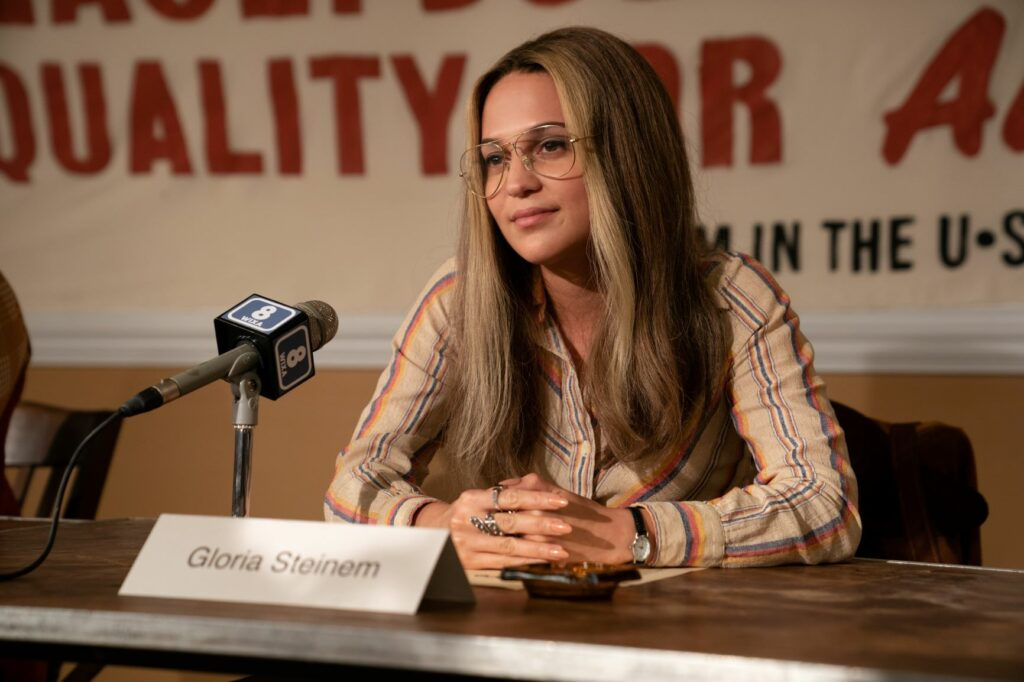 Alicia Vikander at press conference as Gloria Steinem in The Glorias