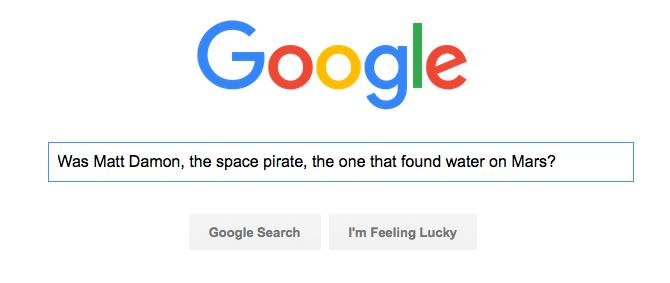 Google search for Matt Damon on Mars
