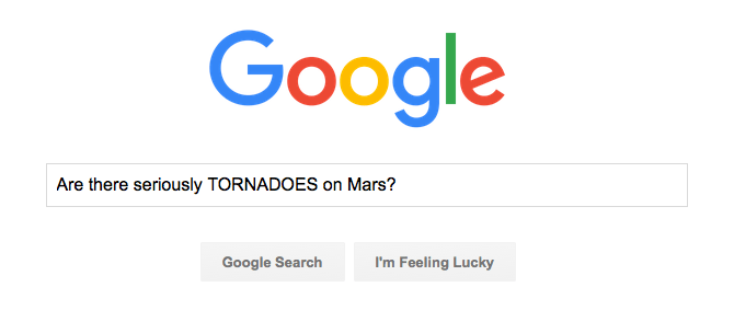 Google search for tornadoes on Mars