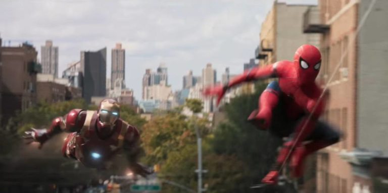 Spider-Man racing Ironman in Spider-Man Homecoming