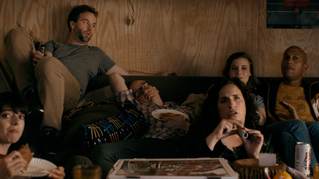 Group picture watching TV with Mike Birbiglia, Gillian Jacobs, and Keegan-Michael Key in Don't Think Twice