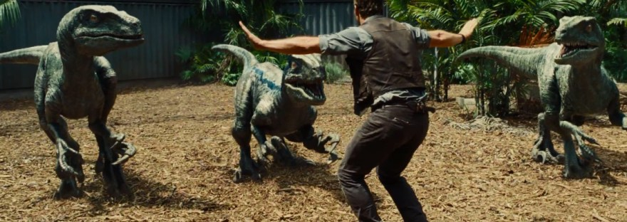 Chris Pratt wrangling velociraptors in Jurassic World