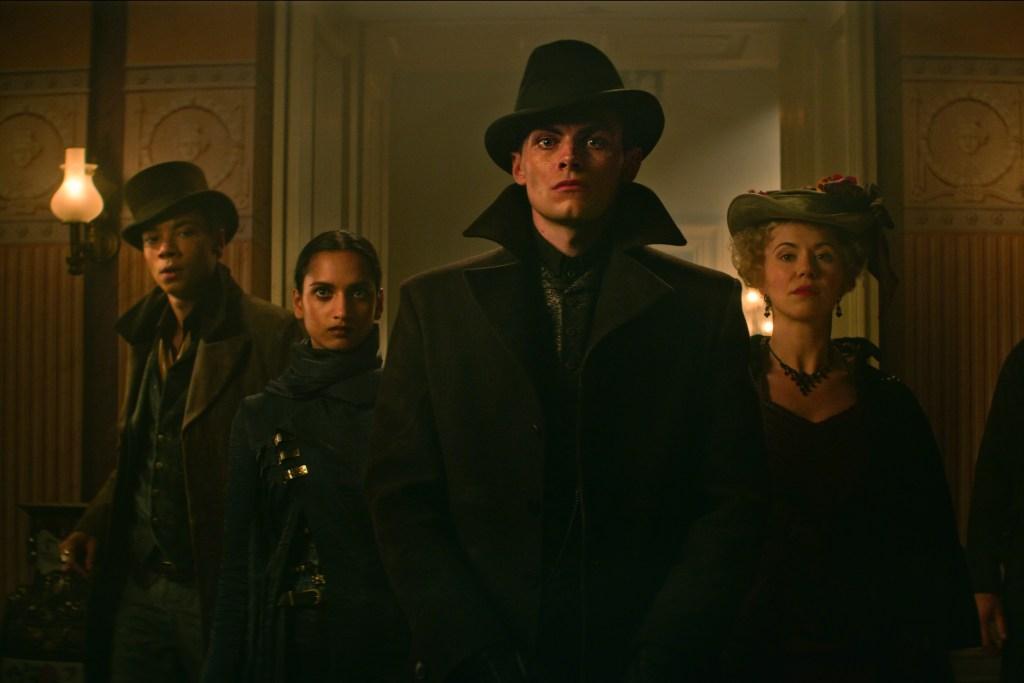 Freddy Carter as Kaz Brekker with Kit Young as Jesper Fahey and Amita Suman as Inej Ghafa