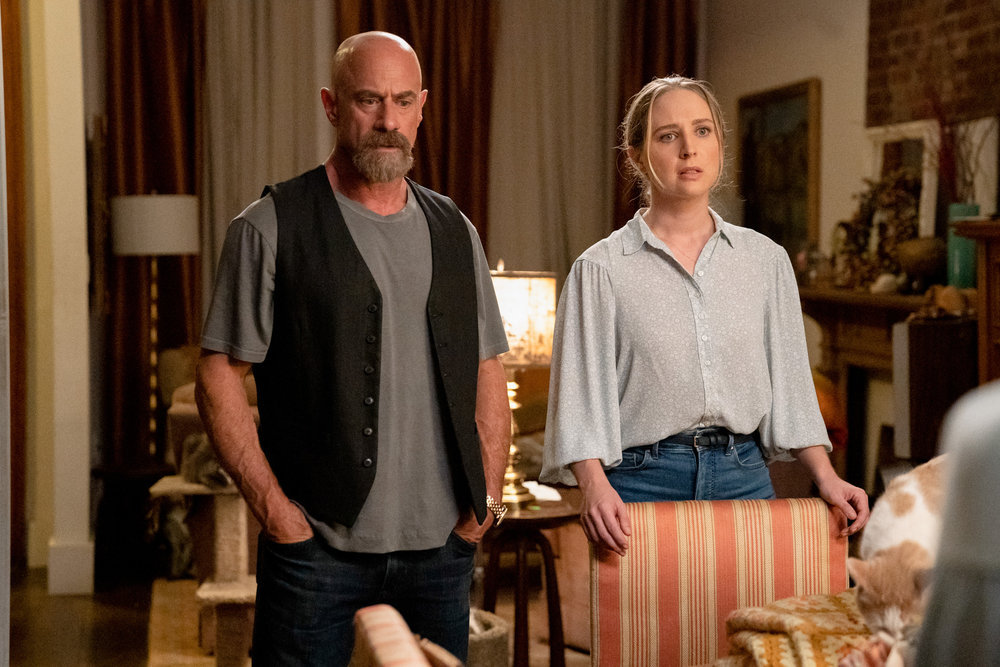 "LAW & ORDER: ORGANIZED CRIME -- ""New World Order"" Episode 202 -- Pictured: (l-r) Christopher Meloni as Det. Elliot Stabler, Allison Siko as Kathleen Stabler -- (Photo by: Virginia Sherwood/NBC)"