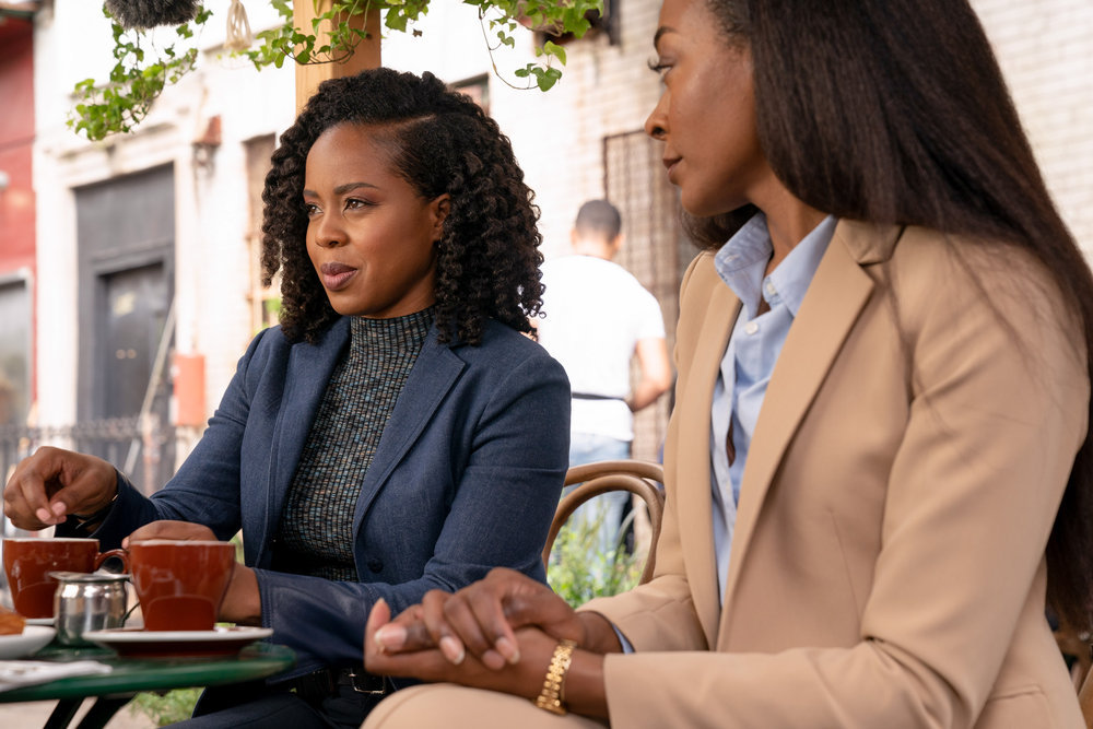 """LAW & ORDER: ORGANIZED CRIME -- """"The Outlaw Eddie Wagner"""" Episode 203 -- Pictured: (l-r) Danielle Moné Truitt as Sgt. Ayanna Bell, Keren Dukes as Denise Bullock -- (Photo by: Virginia Sherwood/NBC)"""