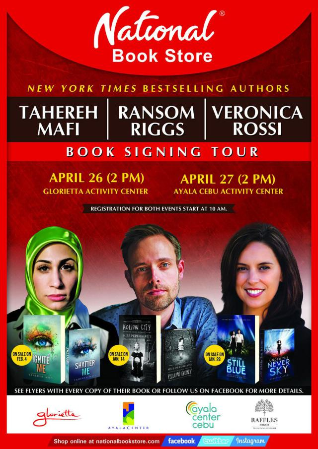 Mafi, Riggs, and Rossi book signing poster