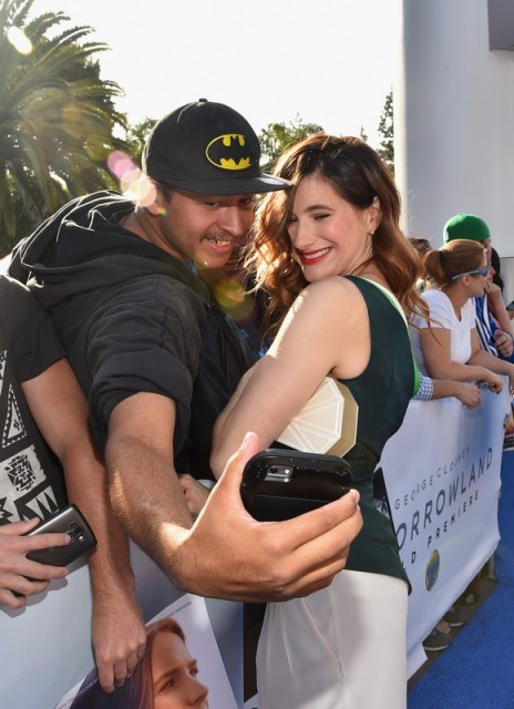 "ANAHEIM, CA - MAY 09: Actress Kathryn Hahn takes a selfie with a fan during the world premiere of Disney's ""Tomorrowland"" at Disneyland, Anaheim on May 9, 2015 in Anaheim, California. (Photo by Alberto E. Rodriguez/Getty Images for Disney) *** Local Caption *** Kathryn Hahn"