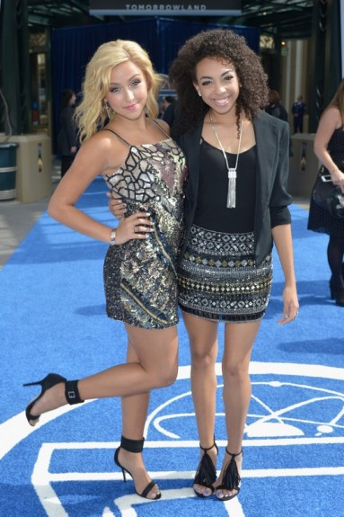 "ANAHEIM, CA - MAY 09: Summer Reign (L) and Millie Thrasher of the musical group Sweet Suspense attend the world premiere of Disney's ""Tomorrowland"" at Disneyland, Anaheim on May 9, 2015 in Anaheim, California. (Photo by Charley Gallay/Getty Images for Disney) *** Local Caption *** Summer Reign;Millie Thrasher"