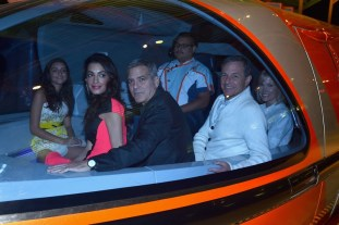 "ANAHEIM, CA - MAY 09: (L-R) Mia Alamuddin, lawyer Amal Clooney actor George Clooney, The Walt Disney Company Chairman and CEO Bob Iger and journalist Willow Bay ride the monorail to the after party for the world premiere of Disney's ""Tomorrowland"" at Disneyland, Anaheim on May 9, 2015 in Anaheim, California. (Photo by Alberto E. Rodriguez/Getty Images for Disney) *** Local Caption *** Mia Alamuddin;George Clooney;Amal Clooney;Bob Iger;Willow Bay"