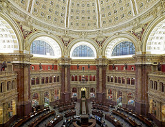 Main Reading Room. View from above showing researcher desks. Library of Congress Thomas Jefferson Building, Washington, D.C.] (LOC) Highsmith, Carol M.,, 1946-, photographer
